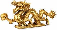 Rame puro statua del drago cinese, artigianato