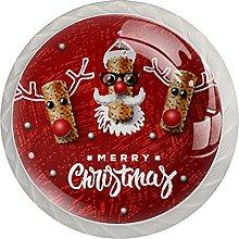 Red Christmas Elk - Confezione da 4 pomelli per