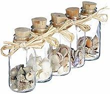 Relaxdays Bottigliette Deco con Conchiglie, Set da