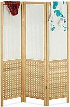 Relaxdays Divisorio in bambù, 3 Pannelli, da