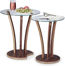 Relaxdays - Set da 2 Tavolini Rotondi da Salotto,