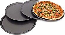 Relaxdays Teglia per Pizza Rotonda, Set da 4, Ø
