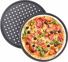 Relaxdays Teglia per Pizza, Set da 2, Rotonda,