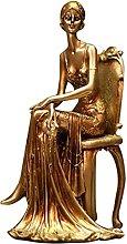 Resina Scultura Elegante Signora Modello Statua