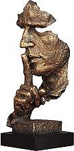 Resina Uomo Silenzioso Statua Scultura Volto Arte