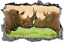 Rinoceronte, 3D, Arte della parete, Rinoceronte,