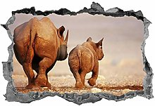 Rinoceronte, adesivo, animali, rinoceronte, 3D,