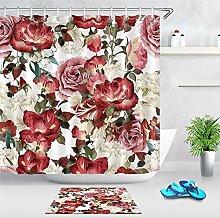 Rosa, colorato, fiore bianco foglia doccia tenda