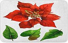 Rosso Poinsettia E Foglie Verdi In Acquerello Su