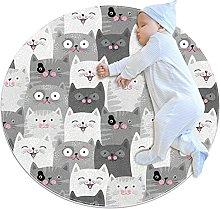 Rotondo Tappeto gatto grigio Tappeto Salotto