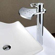 Rubinetto lavabo alto moderno con bocca a cascata