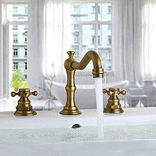 Rubinetto lavabo bagno in ottone antico 3 fori
