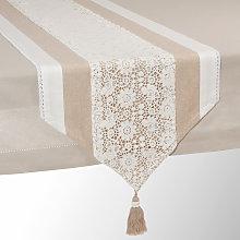 Runner da tavolo beige in cotone L 150 cm