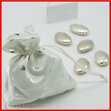 Sacchetto in tessuto bianco con chiusura a tiranti