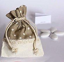 Sacchetto per confetti base bianca con merletto al
