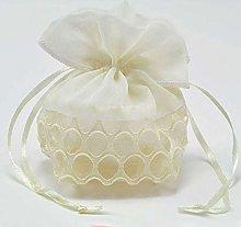 Sacchetto per confetti in doppio tessuto bianco in