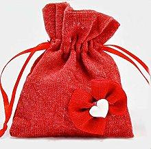 Sacchetto per confetti in juta di colore rosso