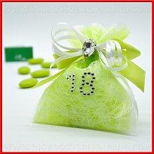 Sacchetto portaconfetti verde per confettate in