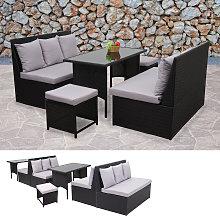 Salottino da esterno 2x divani 2x pouf con tavolo