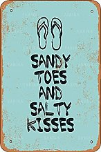 Sandy Toes And Salty Kisses Retro Look 20X30 CM