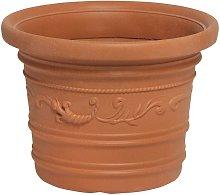 Saturnia - Vaso rotondo in resina terracotta Ø 45