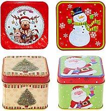 Scatola di latta di Natale,4 pezzi scatola di