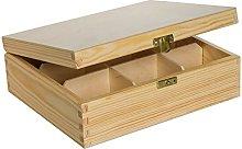 Scatola di legno senza disegni per tè, 9 spazi