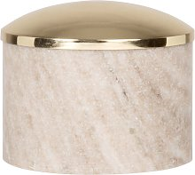 Scatola in marmo marrone con coperchio in metallo