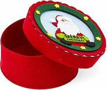 Scatola natalizia tonda in feltro Babbo Natale