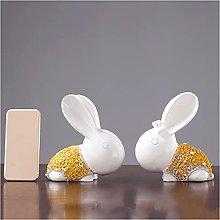 Scultura da tavolo Resina Scultura 2 Pz Coniglio