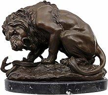 Scultura leone serpente in bronzo anticato figura