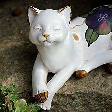 Scultura Pigro Gatto Scultura Animale Gatto Bianco
