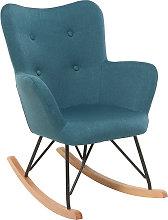 Sedia a dondolo design tessuto blu piedi metallo e
