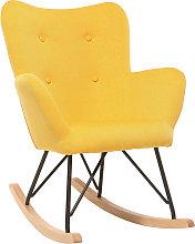 Sedia a dondolo design tessuto giallo piedi