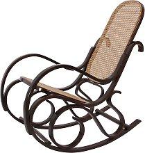 Sedia a dondolo M41 legno scuro seduta rattan