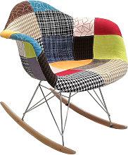 Sedia a dondolo patchwork, 68x62x71 cm multicolore