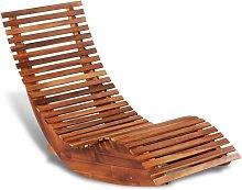 Sedia a Sdraio a Dondolo in Legno di Acacia -
