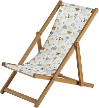 Sedia a sdraio bimbi in acacia massiccia e tela a