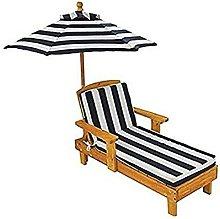 Sedia a sdraio in legno con ombrellone per bambini