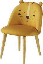 Sedia bambini giallo senape motivo testa di tigre