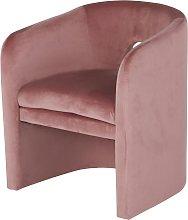 Sedia con braccioli in velluto rosa