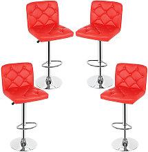 Sedia da bar con bottoni   4 pcs   Rosso   Semplice