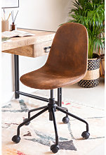 Sedia da scrivania in similpelle Glamm Caffè