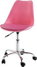 Sedia da scrivania rosa a rotelle