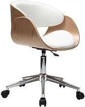 Sedia design a rotelle bianca e legno chiaro BENT