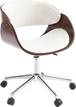 Sedia design a rotelle bianca e legno color noce
