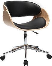 Sedia design a rotelle nera e legno chiaro BENT
