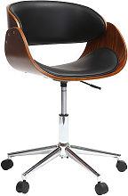 Sedia design a rotelle nera e legno color noce BENT