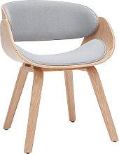 Sedia design in tessuto grigio e legno chiaro BENT