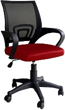 Sedia ergonomica girevole rossa e nera per ufficio